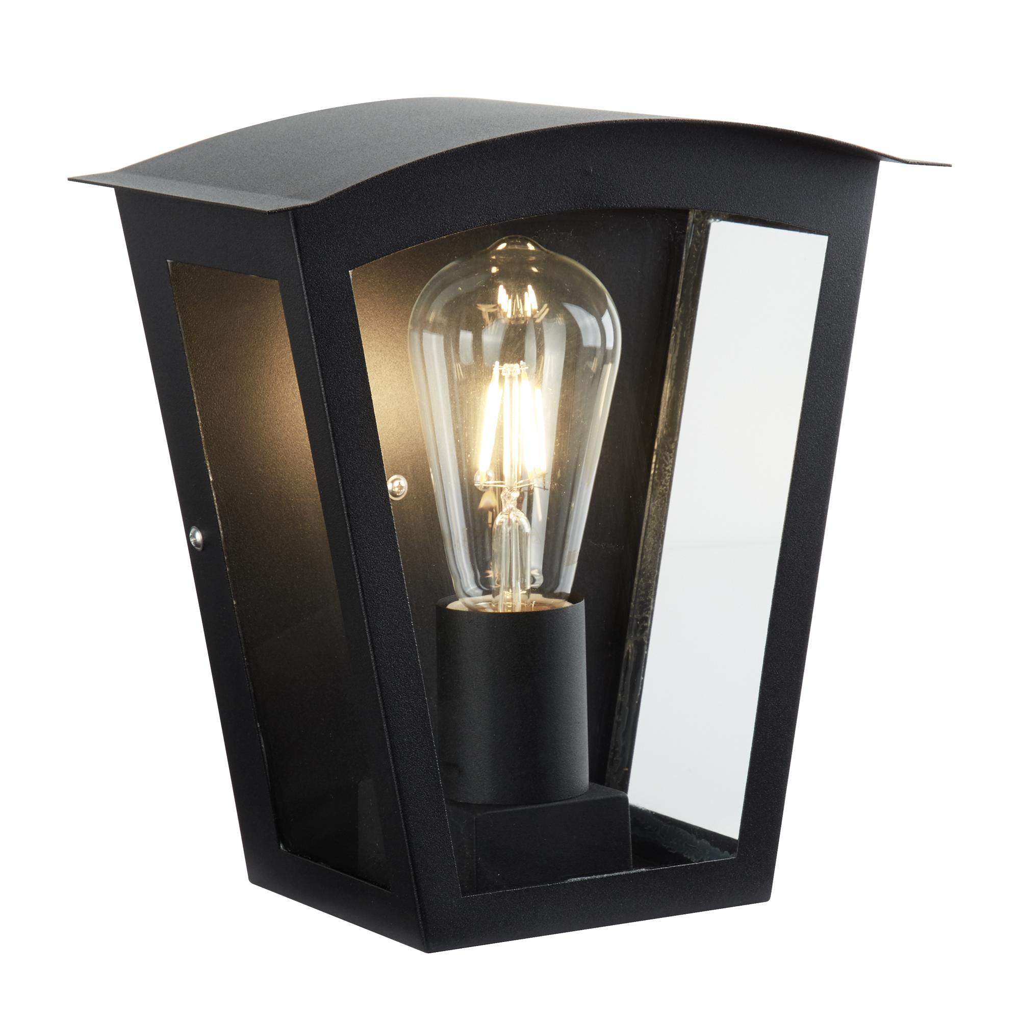 Searchlight 4021bk Box Outdoor 1 Light Wall Bracket Black Clear Glass